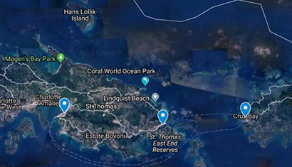 Locations of Tap & Still in the Caribbean