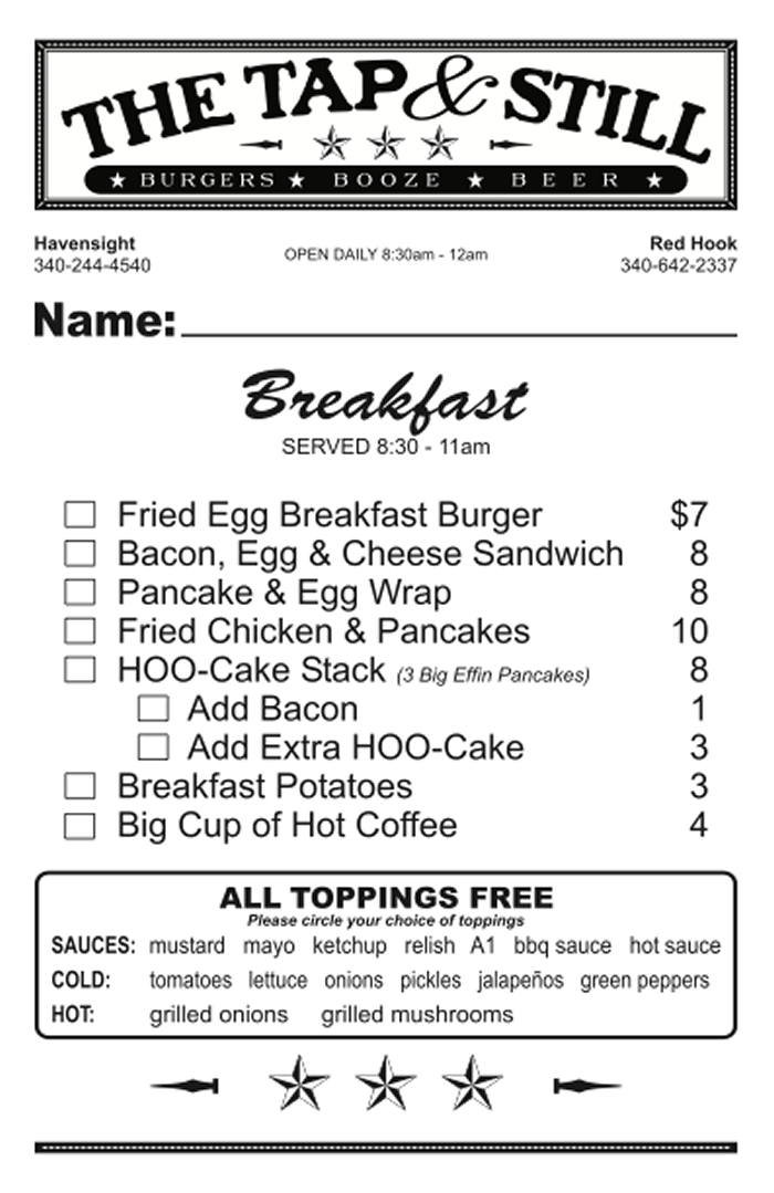 Breakfast Menu at The Tap & Still